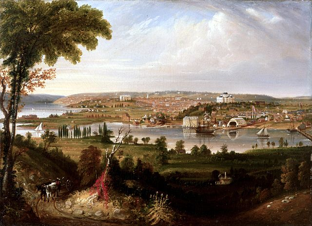 City of Washington from Beyond the Navy Yard by George Cooke, 1833. View of Washington DC from across the Anacostia River. The United States Capitol and the Washington Navy Yard are to the right. The White House is to the left, depicted larger than scale to balance the Capitol building. The Potomac River is on the far left.