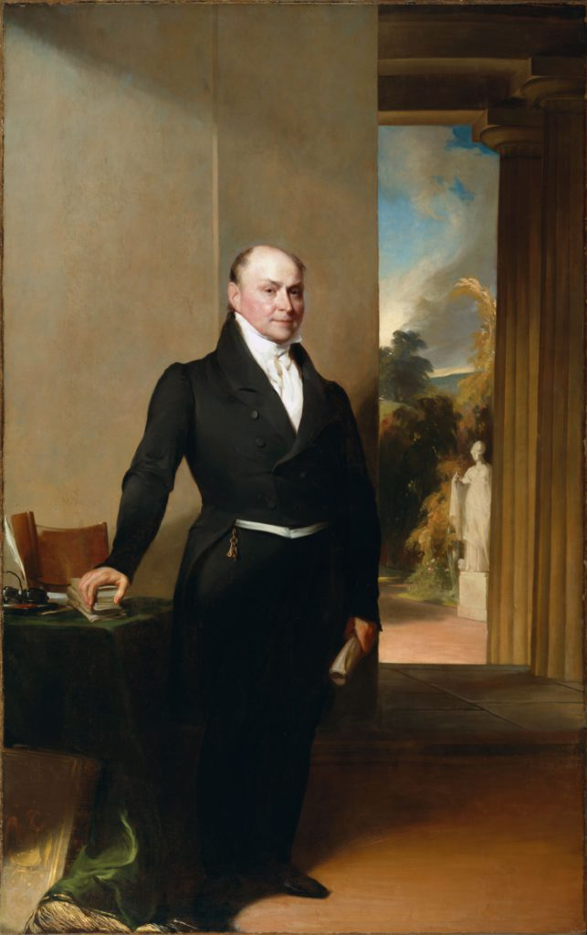 John Quincy Adams portrait by Gilbert Stuart, 1825, and Thomas Sully, 1829-30, Harvard University Portrait Collection, Bequest of Ward Nicholas Boylston to Harvard College, 1828