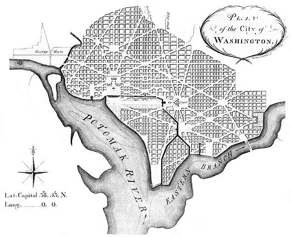 Plan of the City of Washington DC, 1792, by Andrew Ellicott, revised from Pierre Charles L'Enfant's plan