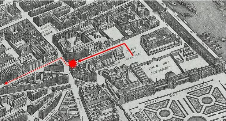 Map of central Paris showing the route of Napoleon's carriage and the location of the infernal machine explosion in rue Saint-Nicaise, one of many attempts to assassinate Napoleon.