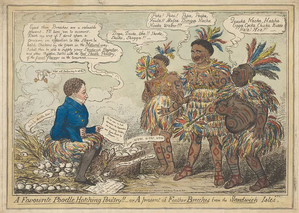 """A Favorite Poodle Hatching Poultry!! – or A Present of Feather Breeches from the Sandwich Isles, caricature by Isaac Cruikshank, June 1824. Frederick (""""Poodle"""") Byng, wearing a feathered kilt, sits on a pile of eggs facing the King and Queen of the Sandwich Islands and another Sandwich Islander."""