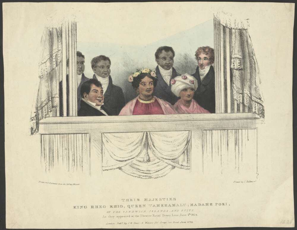 King Kamehameha II (Liholiho), Queen Kamamalu and their party from the Sandwich Islands attending a performance at the Drury Lane Theatre in London on June 4, 1824, by J.W. Gear