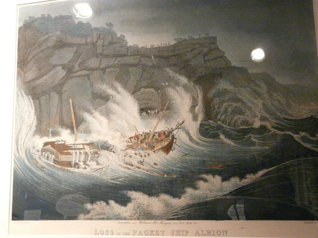 Loss of the Packet Ship Albion, hand-coloured engraving after a print by Thomas Birch
