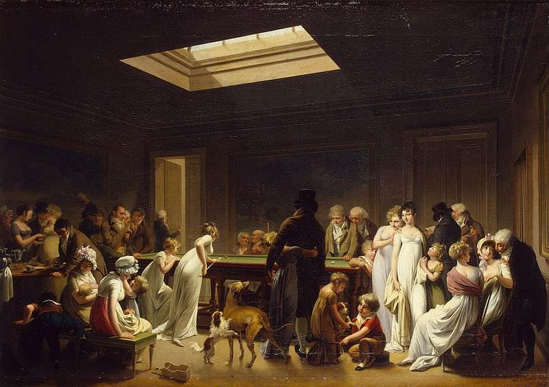 Game of Billiards by Louis-Léopold Boilly, 1807. One can guess why Captain Coignet tried to see what he could whenever Marie Louise stretched herself across the billiard table.
