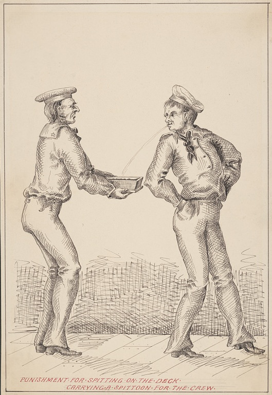 Punishment for spitting on the deck: carrying a spittoon for the crew. Drawing from the first half of the 19th century. Source: Library of Congress