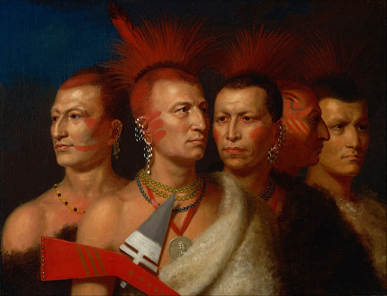 Young Omaha, War Eagle, Little Missouri, and Pawnees by Charles Bird King, 1821