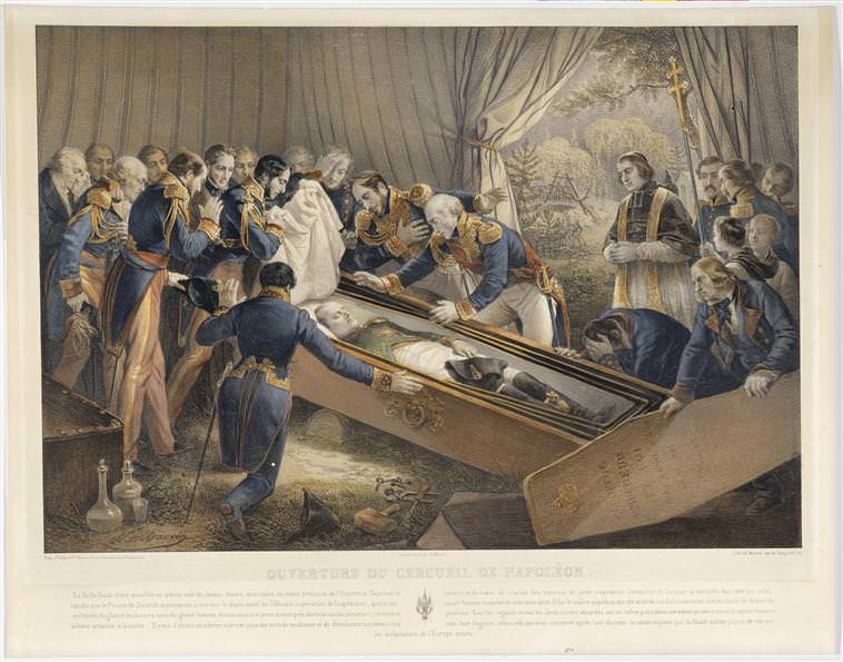 The opening of Napoleon's coffin on St. Helena in October 1840, by Nicolas-Eustache Maurin. Napoleon's body was perfectly preserved.