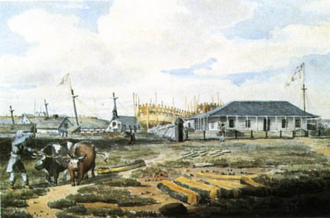 Naval dockyard at Point Frederick in Kingston, 1815
