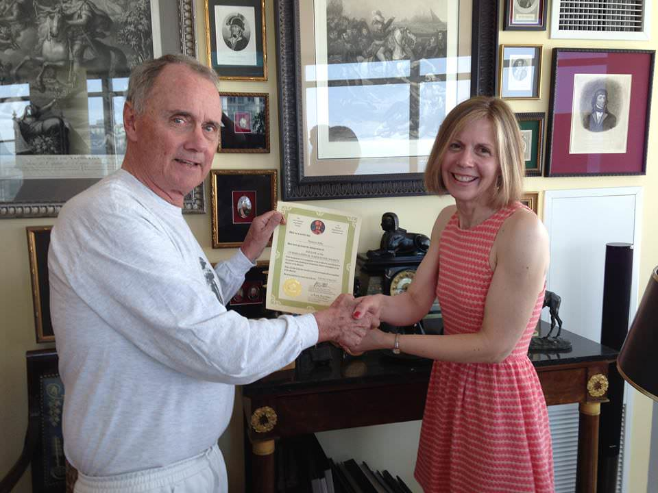 J. David Markham, President of the International Napoleonic Society, makes Shannon Selin a Fellow of the INS