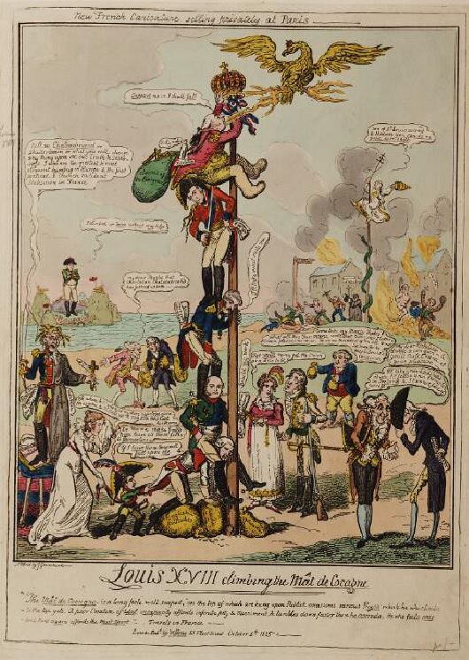 "Louis XVIII climbing the mât de cocagne by George Cruikshank, 1815. ""The Mât de Cocagne is a long pole, well soaped, on the top of which are hung upon Publick occasions various prizes which he who climbs to the top gets."" Louis XVIII is propped up by the Duke of Wellington and his sword."