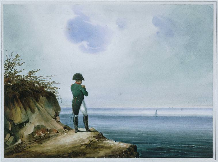 Napoleon on St. Helena by François-Joseph Sandmann. There were many fake news stories about Napoleon's escape.