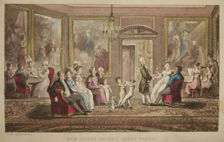 Quae Genus gives a grand party, by Thomas Rowlandson, 1822