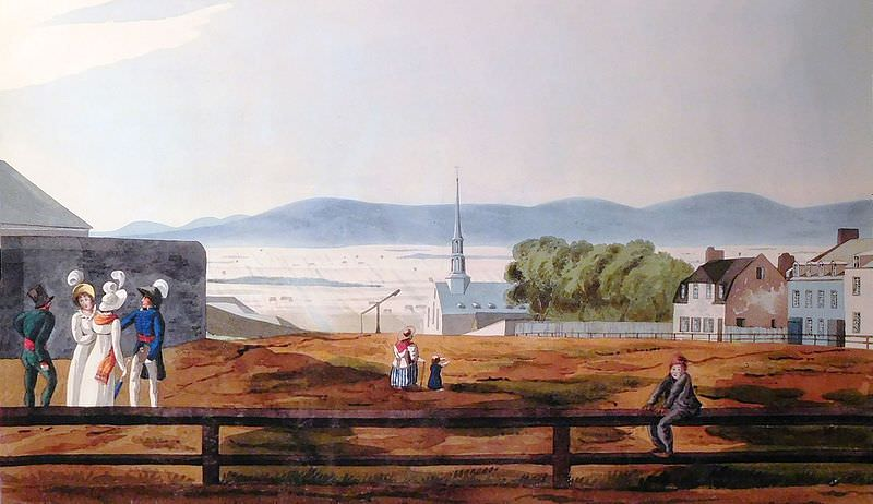 Esplanade Park in Quebec City circa 1818 (see Glimpses of Canada in 1817)