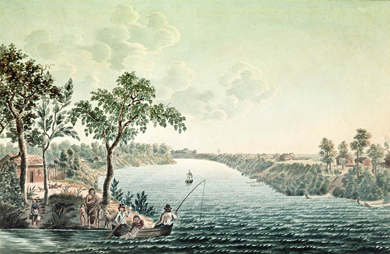 Summer view in the environs of Fort Douglas on the Red River by Peter Rindisbacher, 1822