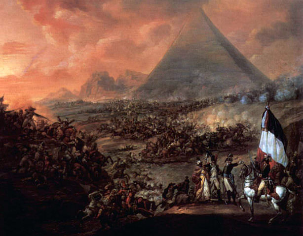 Napoleon at the Battle of the Pyramids by François-Louis-Joseph Watteau, 1798-99. In reality, the battle took place so far from the pyramids that the latter were barely visible on the horizon. They were probably obscured by smoke once the fighting got underway.