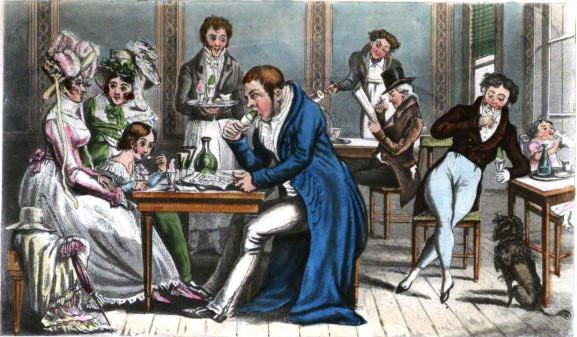 John Bull and his family at an ice café in Paris, 1815