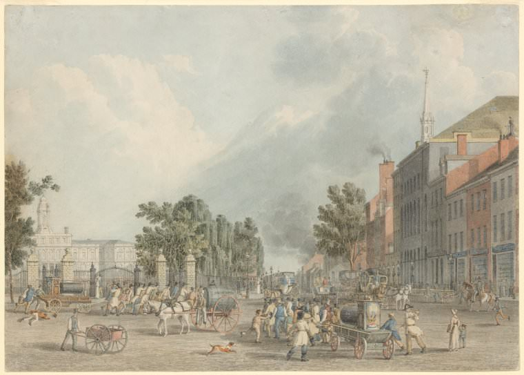 A View of New York City in the early 1800s: City Hall and Park Row by John William Hill, 1830