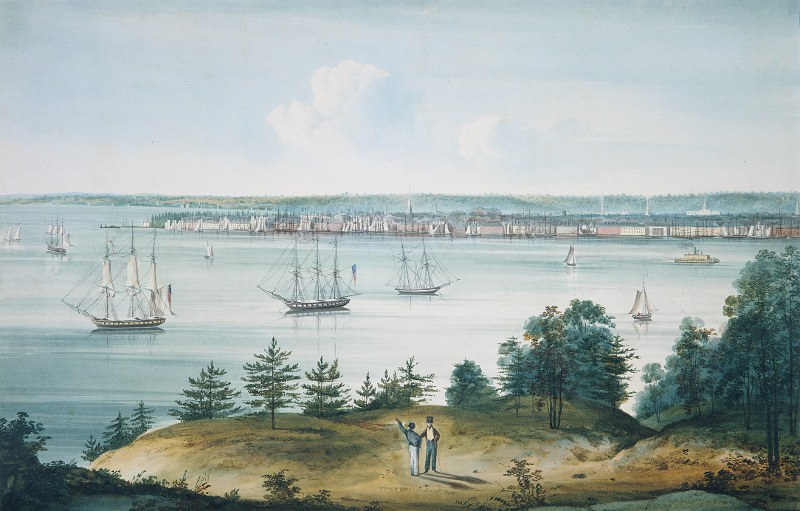 The Bay of New York Taken from Brooklyn Heights by William Guy Wall, 1820-1825. Source: The Metropolitan Museum of Art, The Edward W. C. Arnold Collection of New York Prints, Maps, and Pictures, Bequest of Edward W. C. Arnold, 1954