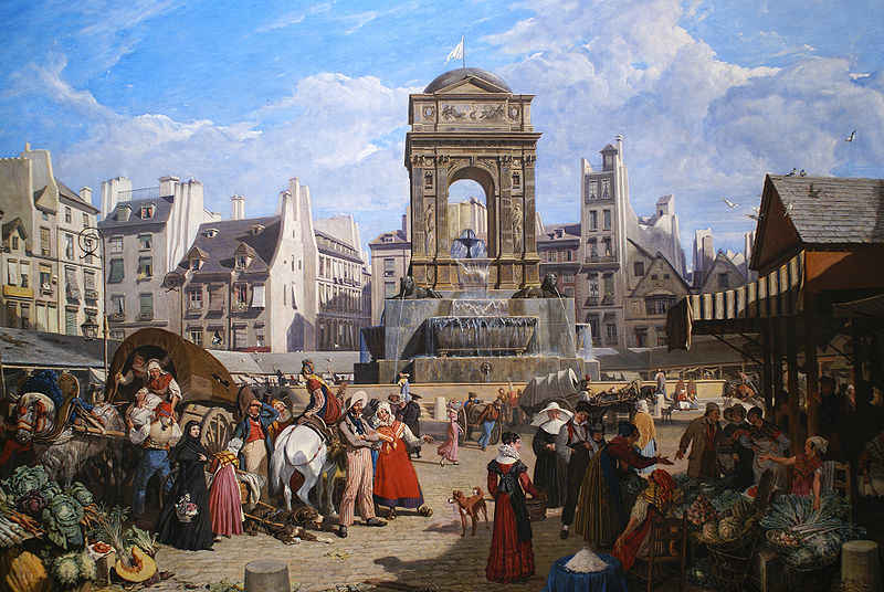 View of the Market and Fontaine des Innocents, Paris, by John James Chalon, 1822