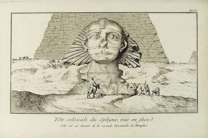 View of the Sphinx by Frederik Ludvig Norden, 1737. Sixty years before Napoleon's troops allegedly shot it off, the Sphinx's nose was already missing. Source: Wellcome Images, https://wellcomeimages.org/.