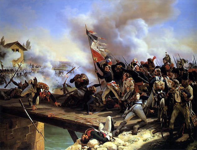 Napoleon leading his troops over the bridge of Arcole by Horace Vernet, 1826. It's a myth that Napoleon crossed the bridge.