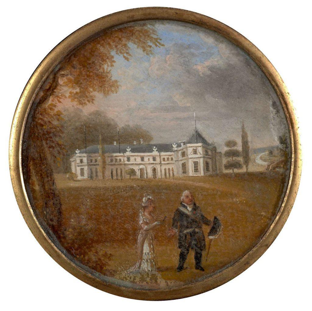 Louis XVIII taking a walk with the Duchess of Angoulême in the grounds of Hartwell House, circa 1810