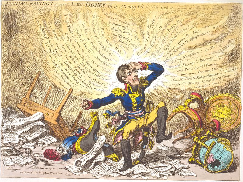 Maniac Ravings or Little Boney in a strong fit by James Gillray, 1803. British caricatures like this one contributed to the myth that Napoleon was short.