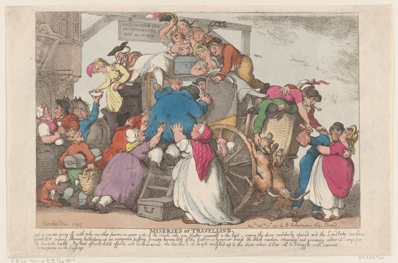 These folks could use some packing tips. Miseries of Travelling: The Overloaded Coach, Thomas Rowlandson, 1807. Source: Metropolitan Museum of Art, The Elisha Whittelsey Collection, The Elisha Whittelsey Fund, 1959