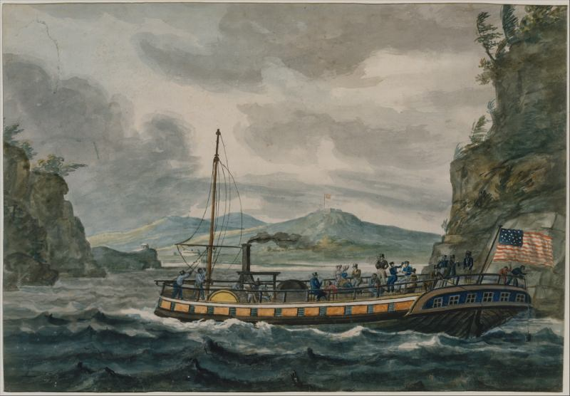Steamboat Travel on the Hudson River, Pavel Petrovich Svinin, 1811-1813. Source: The Metropolitan Museum of Art, Rogers Fund, 1942