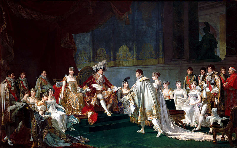 The Espousal of Jérôme Bonaparte and Catharina of Württemberg, by Jean-Baptiste Regnault, 1807. This painting depicts most of Napoleon's family (Lucien is absent).