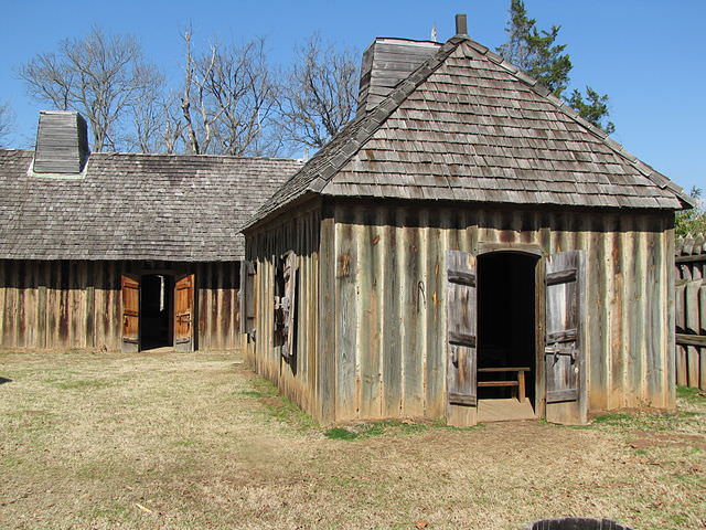 Replica buildings at Fort St. Jean Baptiste Historic Site in Natchitoches, Louisiana