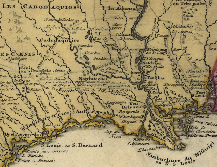 A map of Louisiana in 1763, showing the location of Natchitoches