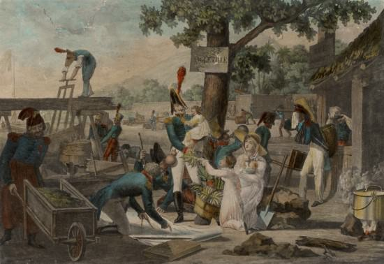 View of Aigleville, Colony of Texas or Field of Asylum, by Ambroise Louis Garneray, circa 1819. An idealized depiction of the Napoleonic exiles in America. Source: The Museum of Fine Arts, Houston, The Bayou Bend Collection, gift of Miss Ima Hogg, www.mfah.org