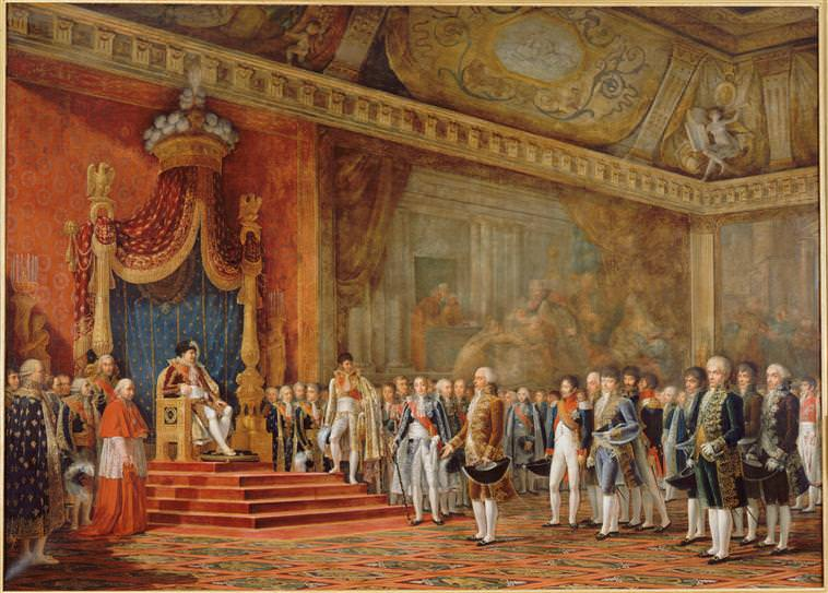 Napoleon Receiving the Delegation from the Roman Senate by Innocent-Louis Goubaud, 1809, shows an example of the etiquette of Napoleon's court