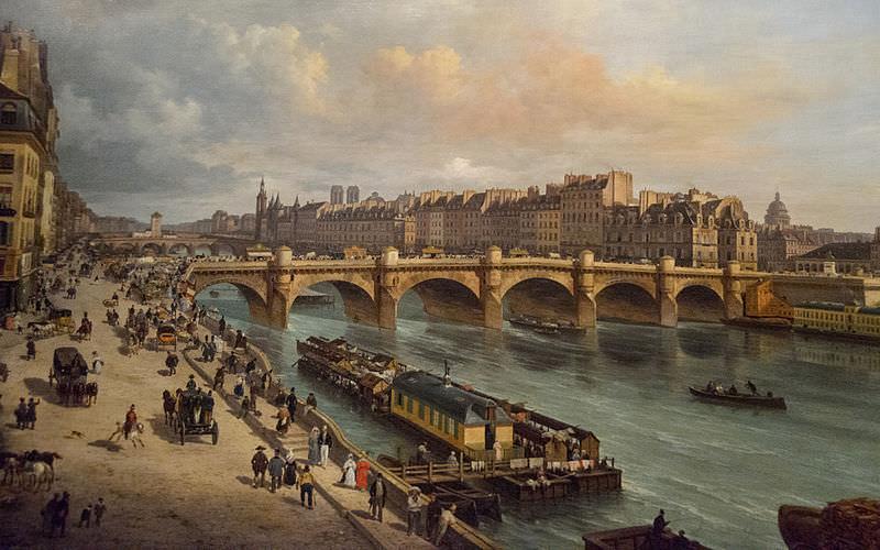 La Cité et le Pont Neuf, vus du quai du Louvre by Giuseppe Canella, 1832 - Sunday in Paris