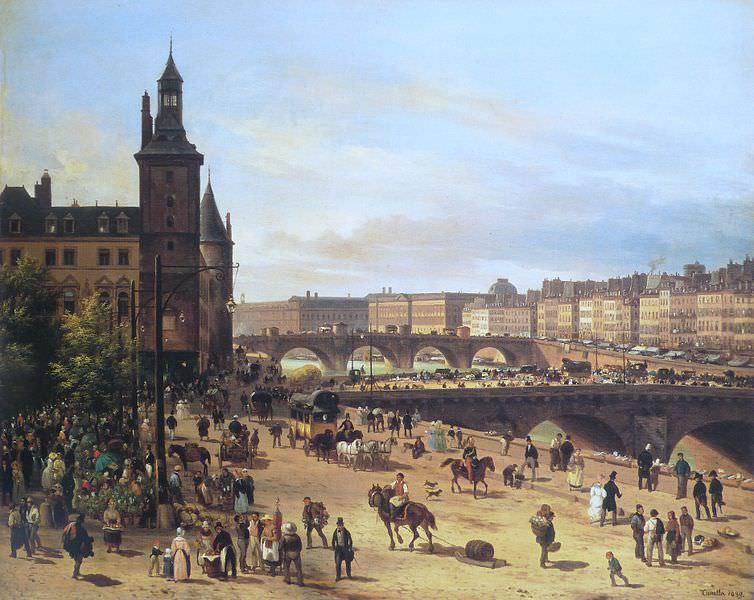 Le marché aux fleurs, la Tour de l'Horloge, le Pont au Change et le Pont Neuf by Giuseppe Canella, 1832 - Sunday in Paris