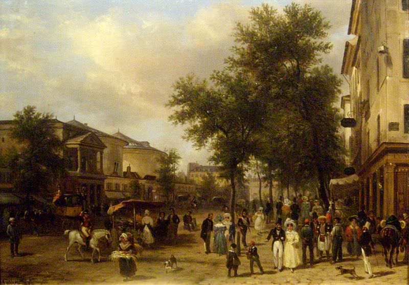 Vue de Boulevard Montmartre à Paris by Giuseppe Canella, 1830 - A Sunday in Paris