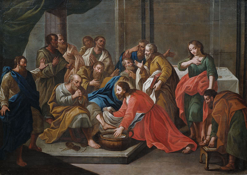 Jesus performing foot washing on his disciples, by an anonymous Sicilian painter, early 1700s