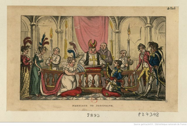 Napoleon's Marriage to Josephine, Caricature by George Cruikshank. Source: Bibliothèque nationale de France. A number of women developed a Josephine delusion, believing they were married to Napoleon.