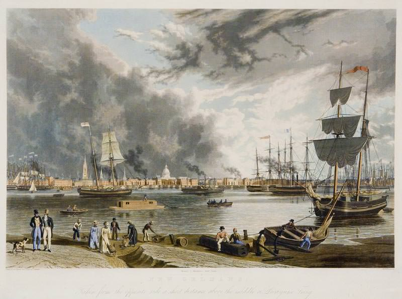 New Orleans - Taken from the Opposite Side a Short Distance above the Middle or Picayune Ferry, by W. J. Bennett from a sketch by A. Mondelli, 1841. Site of the New Orleans riot of 1817