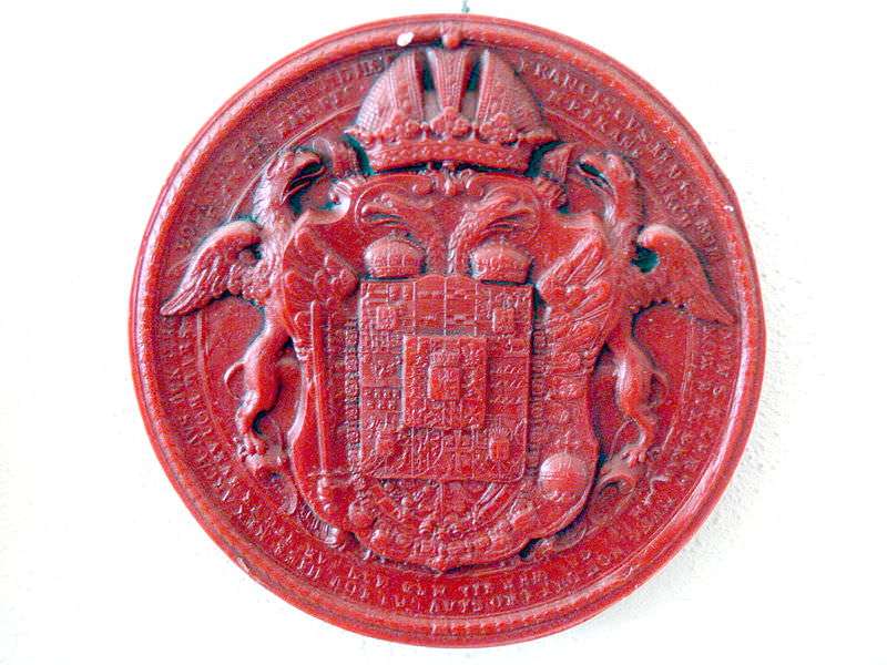 Seal of Holy Roman Emperor Francis II, 1792. In 1806 Francis dissolved the Holy Roman Empire, after being defeated by Napoleon at the Battle of Austerlitz. He retained the title Emperor Francis I of Austria.