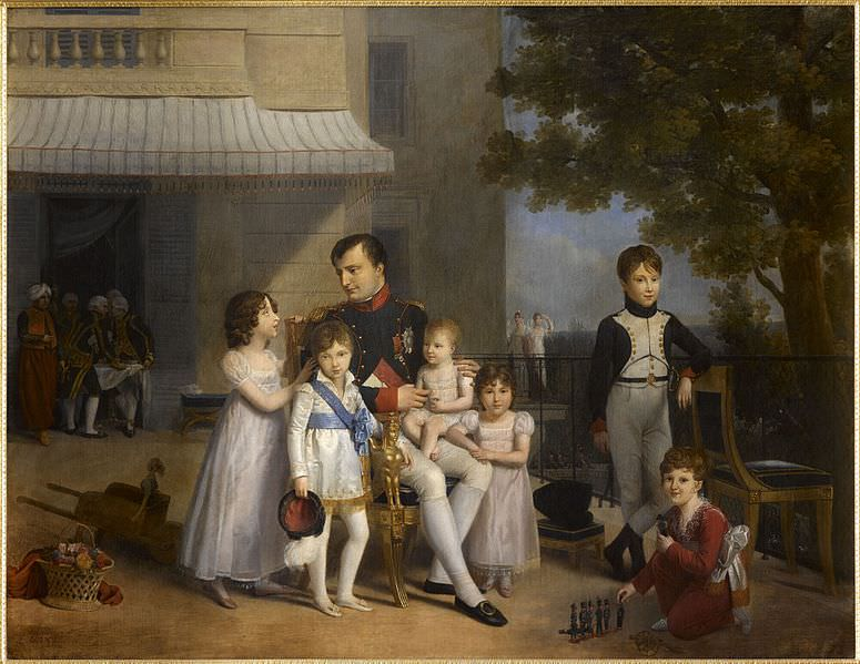 Napoleon with his nieces and nephews on the terrace at Saint-Cloud, by Louis Ducis, 1810. Napoleon and four of his siblings have living descendants.