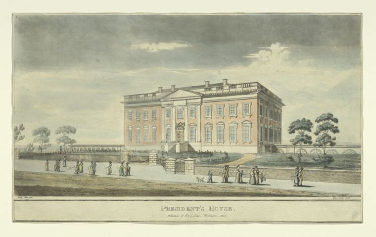 The President's House by Henry Stone, 1826. John Quincy Adams installed the first billiard table in the White House in 1825.