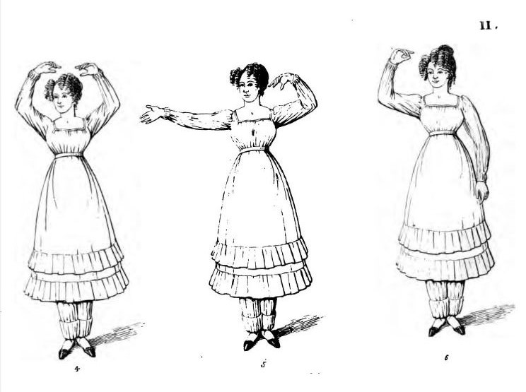 Exercises for women, from A Treatise on Calisthenic Exercises by Signor Voarino, 1827