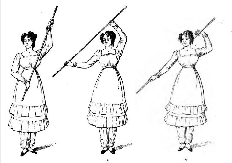 Cane exercises for women, from A Treatise on Calisthenic Exercises by Signor Voarino, 1827