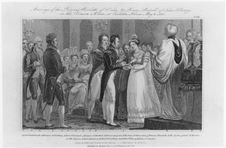 Wedding of Princess Charlotte of Wales and Prince Leopold of Saxe-Coburg-Saalfeld, by Robert Hicks, after William Marshall Craig