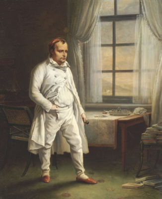 Napoleon on St. Helena, by Charles de Steuben, 1828. Napoleon was often in his dressing gown during his final months.