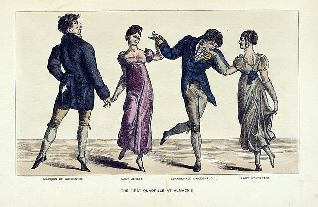 The first quadrille at Almack's, from <em>The Reminiscences and Recollections of Captain Gronow 1810-1860</em>. Dancing was considered a good form of exercise for women.