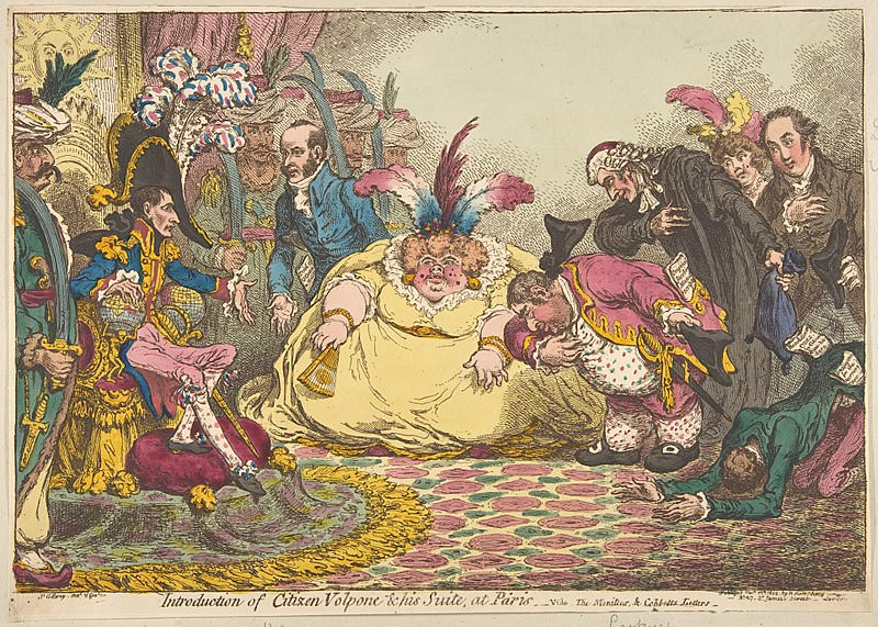Introduction of Citizen Volpone & His Suite at Paris, by James Gillray, 1802. Caricature of Napoleon receiving Charles James Fox and his wife, as well as Lord and Lady Holland., supporters of Napoleon from England.