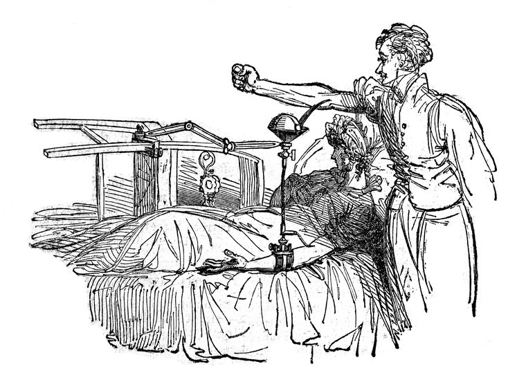 "A blood transfusion using James Blundell's ""gravitator."" Source: Wellcome Collection. Blundell is a key figure in blood transfusion history."